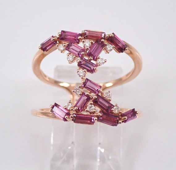 Rhodolite Garnet and Diamond Unique Anniversary Ring Rose Gold Index Middle Finger Ring Size 7.25