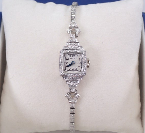 Antique Vintage Art Deco Platinum Diamond CROTON Ladies Tennis Bracelet Watch