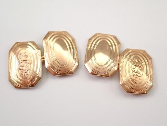 Mens Unisex 14K Yellow Gold Vintage Antique Engraved Cufflinks