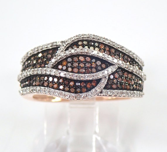 White and Orange Diamond Wedding Ring Anniversary Band Rose Pink Gold Size 7