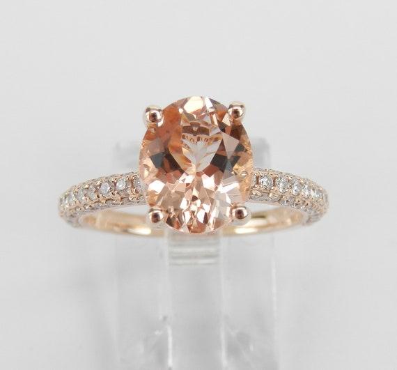 14K Rose Gold 2.99 ct Morganite and Diamond Engagement Ring Size 6.75 Pink Aquamarine Gemstone Ring FREE Sizing