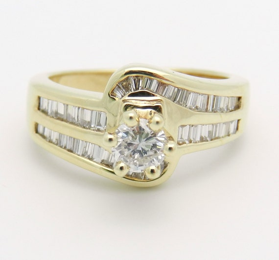 18K Yellow Gold Diamond Engagement Ring, Round Brilliant Diamond, Natural Diamond Ring, Engagement Ring, Size 6.75