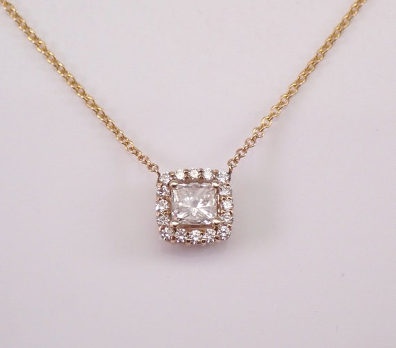 "14K Yellow Gold Princess-Cut Diamond Halo Solitaire Pendant Necklace 15"" Chain"