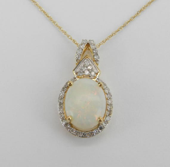"""Diamond and Opal Halo Pendant Necklace 14K Yellow Gold 18"""" Chain October Gemstone"""