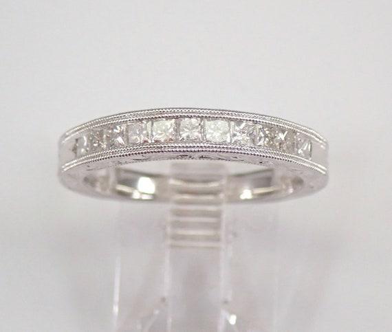 14K White Gold Princess Cut Diamond Wedding Ring Engraved Anniversary Band Size 7 FREE SIZING