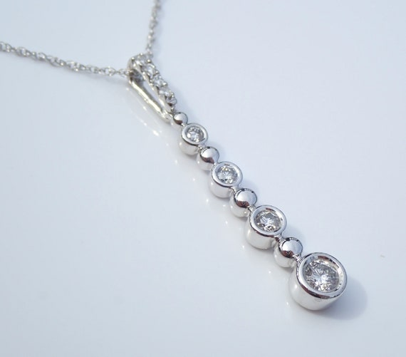 "Diamond Drop Pendant White Gold Bezel Set Necklace Chain 18"" FREE SHIPPING"