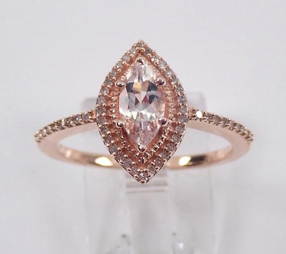 Marquise Morganite and Diamond Halo Engagement Ring Rose Gold Size 7 Pink Aqua FREE Sizing