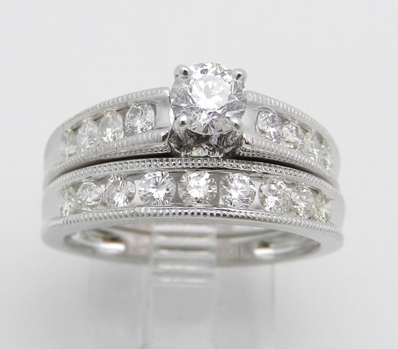 1.36 ct Diamond Engagement Wedding Ring Band Set 14K White Gold Bridal Set
