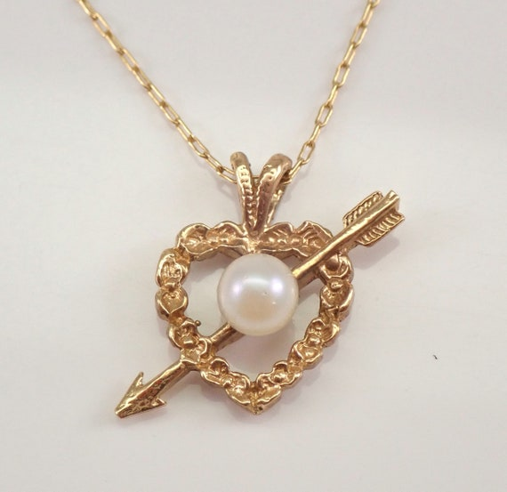 """Antique Vintage 14K Yellow Gold Pearl Pendant Solitaire Heart and Arrow Necklace 16"""" Chain"""