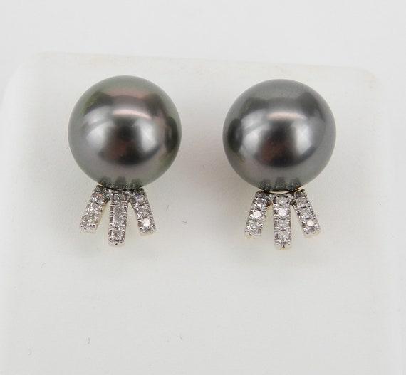 Tahitian Pearls, Black Pearl Studs, Diamond Stud Earrings, 14K Yellow Gold Earrings, Bridesmaid Gift, June Birthstone, Wedding Studs