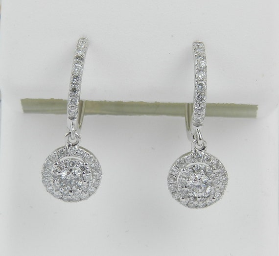 White Gold Diamond Cluster Dangle Drop Earrings Hoop Style Handmade