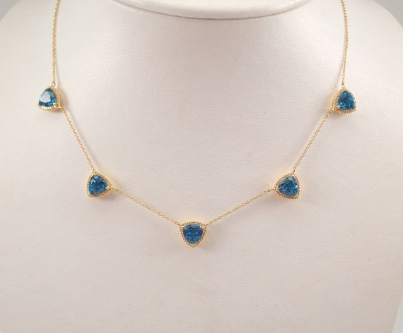 "14K Yellow Gold Diamond and Trillion Blue Topaz Halo Necklace 18"" Adjustable Chain"