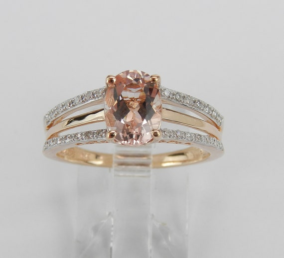 Rose Gold Morganite and Diamond Engagement Ring Size 7 Pink Aquamarine Gemstone Ring