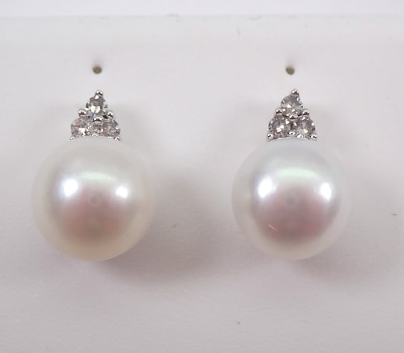 14K White Gold Pearl and Diamond Stud Earrings June Birthstone Studs