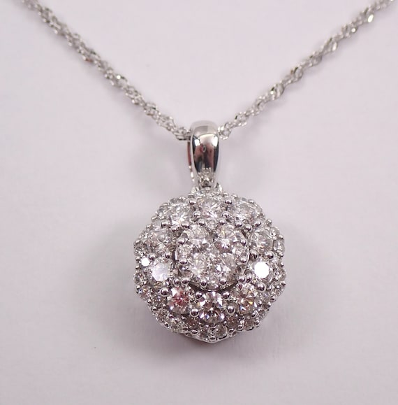 1.00 ct Diamond Cluster Pendant 14K White Gold Diamond Halo Flower Wedding Necklace Chain 18""