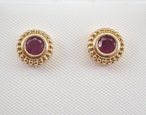 Ruby Stud Earrings Halo Studs Yellow Gold July Birthstone Graduation Gift