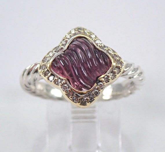 Authentic David Yurman Sterling Silver and 18K GOLD Pink Tourmaline Quatrefoil Ring Size 7