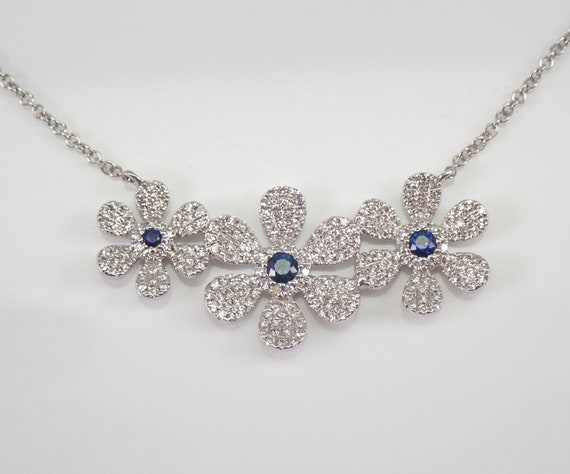 Diamond and Sapphire Flower Necklace 14K White Gold Adjustable Chain Wedding Gift September Birthstone