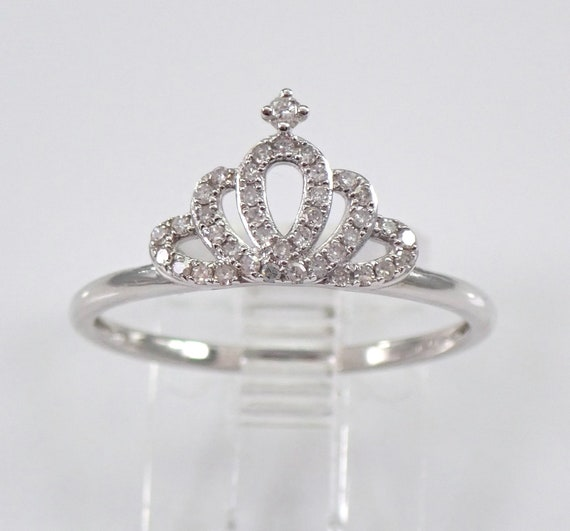 14K White Gold Diamond Crown Ring Promise Band King Queen Royal Gift Size 7.25 FREE Sizing