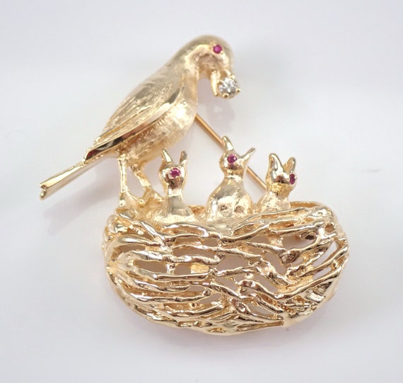 Antique Vintage Estate 14K Yellow Gold Diamond and Ruby BIRD Nest Mother and Child Brooch Pin