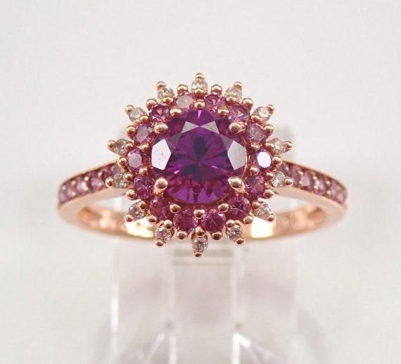 Rhodolite Garnet Amethyst and Diamond Flower Engagement Ring 14K Rose Gold Size 7