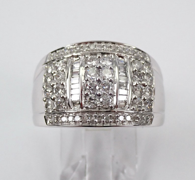 f8900881c04f3 White Gold 1.00 ct Wide Diamond Wedding Ring Anniversary Band Cluster Size 7