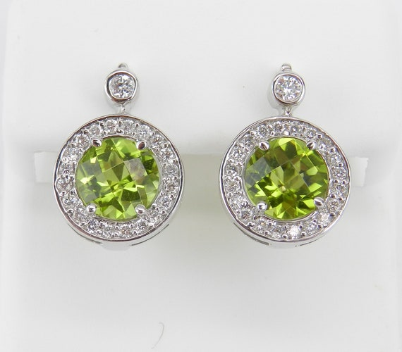 14K White Gold Peridot and Diamond Halo Drop Earrings Wedding Gift Euro Clasp
