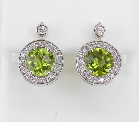 14K White Gold Peridot and Diamond Halo Drop Earrings Wedding Gift European Clasp