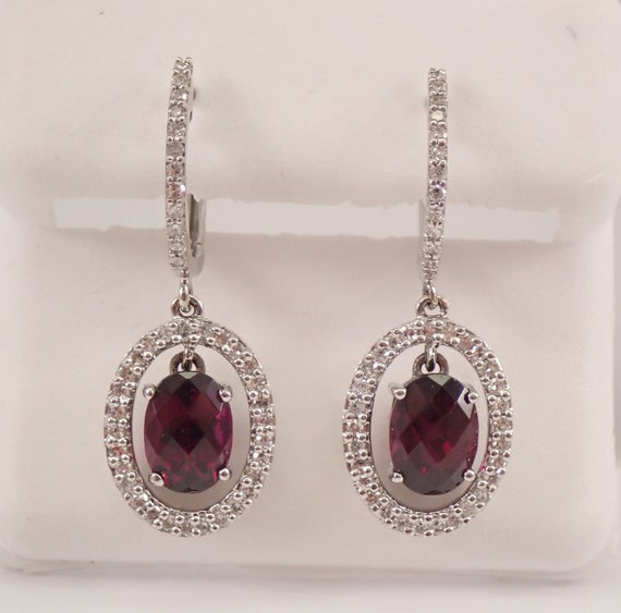 14K White Gold 3.57 ct Rhodolite Garnet and Diamond Halo Drop Dangle Earrings