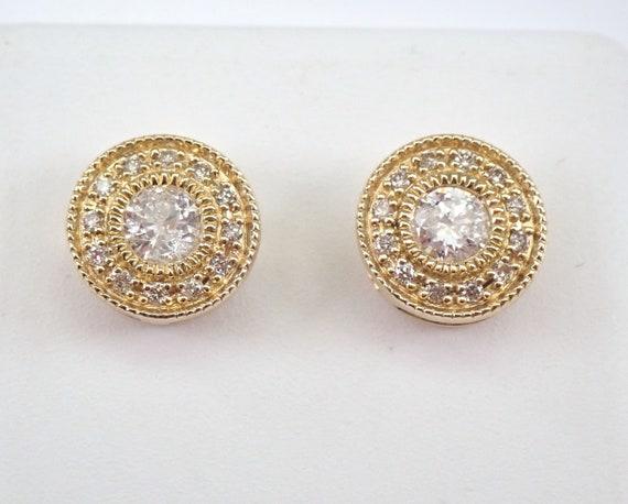 Yellow Gold Diamond Studs Cluster Stud Earrings Wedding Diamond Halo Studs