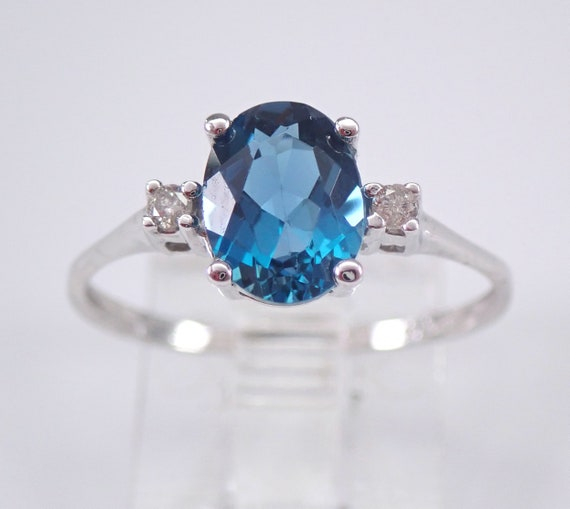 White Gold Diamond and London Blue Topaz Engagement Promise Ring Size 6.75 December Gemstone