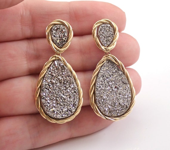14K Yellow Gold Gray Druzy Quartz Dangle Earrings Large Teardop Earrings