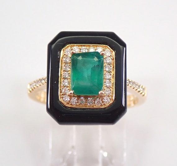 Emerald Diamond Onyx Halo Engagement Ring 14K Yellow Gold Size 7 Black Green