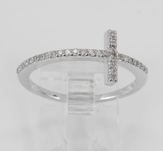 White Gold Diamond Cross Ring Unique Religious Christian Prayer Promise Size 7
