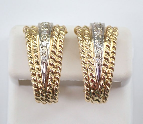 Vintage Estate Antique 14K Yellow Gold Diamond Rope Design Earrings Omega Clasps