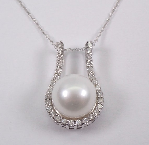 "Pearl and Diamond Necklace, 14K White Gold Diamond 11 mm White Pearl Necklace Pendant Chain 18"" June Gift"