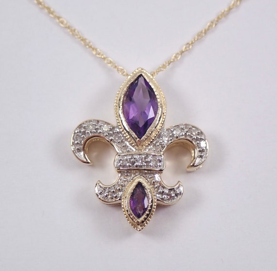 "Amethyst and Diamond Fleur De Lis Pendant 14K Yellow Gold 18"" Chain Necklace February Birthstone Flower"