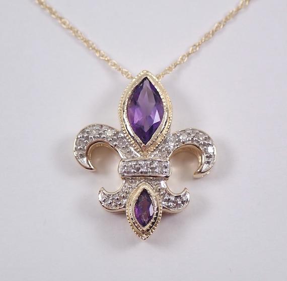 "Amethyst and Diamond Fleur De Lis Pendant 14K Yellow Gold 18"" Chain Necklace February Birthstone Flower"