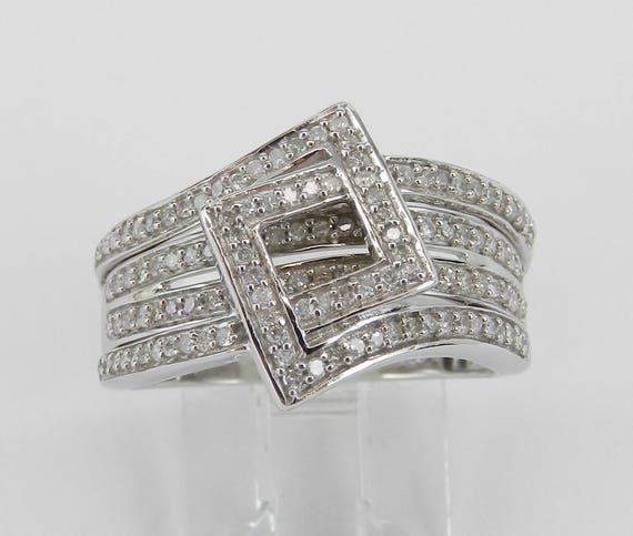 White Gold Diamond Multi Row Band Square Geometric Design Ring Size 6.75