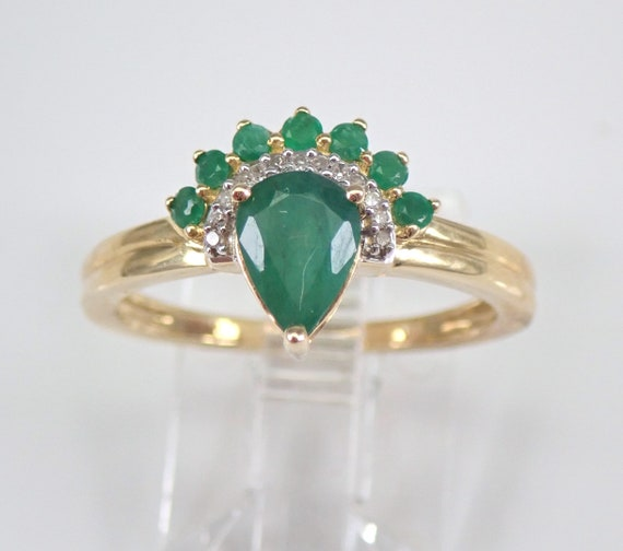 Yellow Gold Diamond and Pear Emerald Engagement Ring Size 7 May Birthstone FREE Sizing