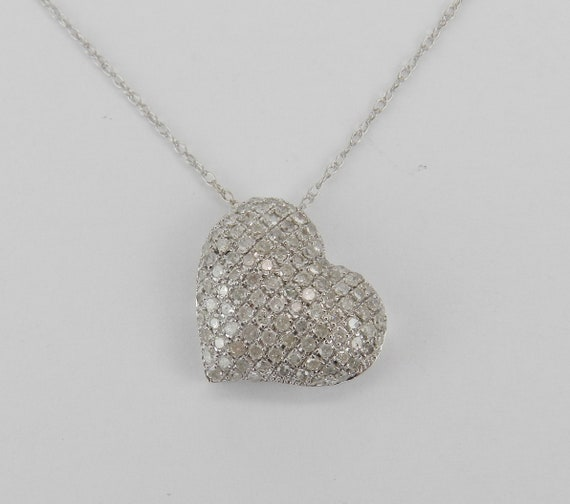 "Diamond Heart Necklace, Puffy Diamond Heart, 14K White Gold Pendant and Chain, Diamond Heart Pendant, White Gold 18"" Chain"