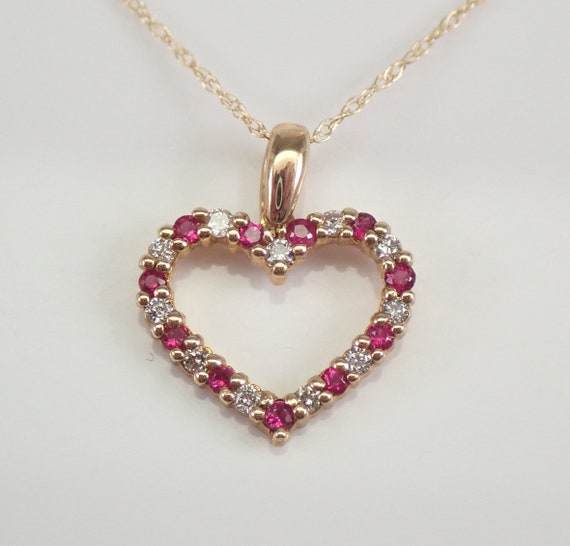 """Yellow Gold Diamond and Ruby Open Heart Pendant Necklace Chain 18"""" July Birthstone"""