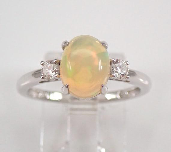 14K White Gold Diamond and Opal Three Stone Engagement Ring Size 7 October Gemstone FREE Sizing