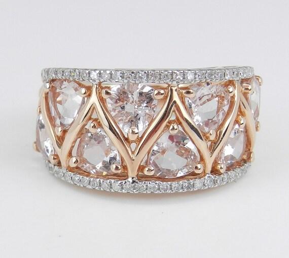 3.40 ct Morganite and Diamond Wedding Ring Anniversary Band 14K Rose Gold Size 6.5 FREE Sizing