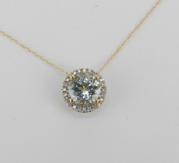 "Diamond and Aquamarine Pendant Necklace 14K Yellow Gold 18"" Chain Aqua March Gemstone"