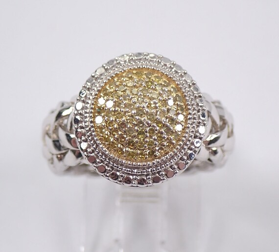 Sterling Silver Canary Fancy Yellow Diamond Cluster Ring Size 6
