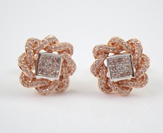 14K Rose and White Gold Diamond Studs Princess Cut Cluster Halo Stud Earrings