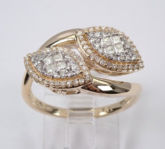 14K Yellow Gold Diamond Bypass Ring Cocktail Cluster Marquise Halo Shape Size 7