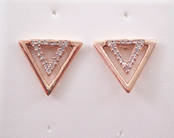 Diamond Earrings Triangle Stud Earrings Rose Gold Geometric Design