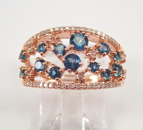 London Blue Topaz Morganite Diamond Anniversary Ring Band Rose Gold Size 7 FREE SIZING